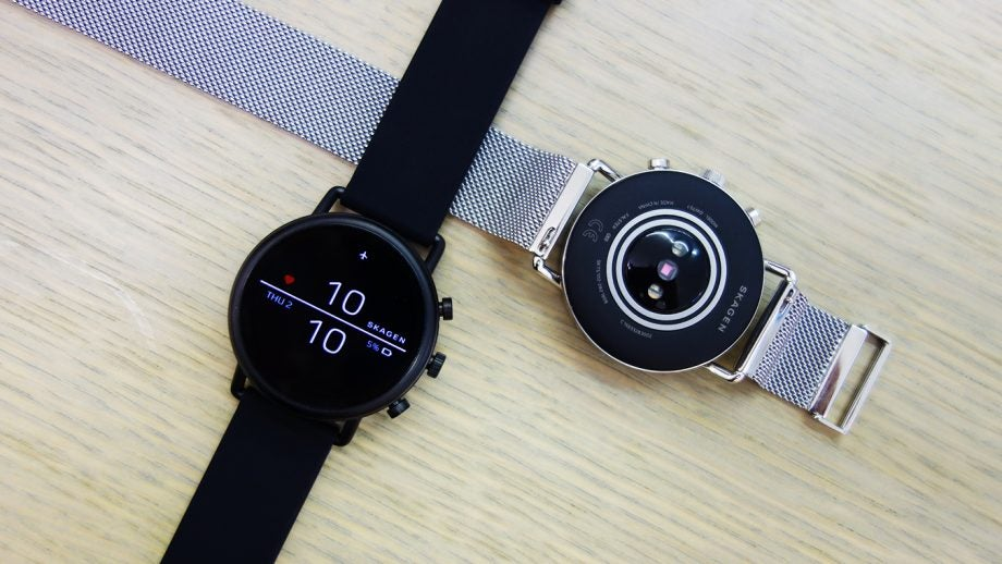 Skagen Falster 2 black and silver mesh front and back top down
