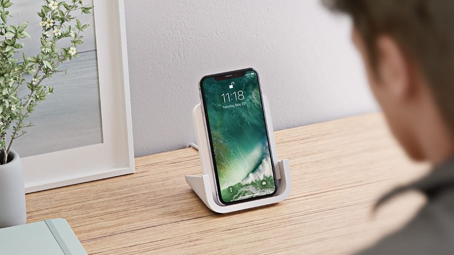 logitech 39 s new iphone stand will wirelessly charge and cradle your phone. Black Bedroom Furniture Sets. Home Design Ideas
