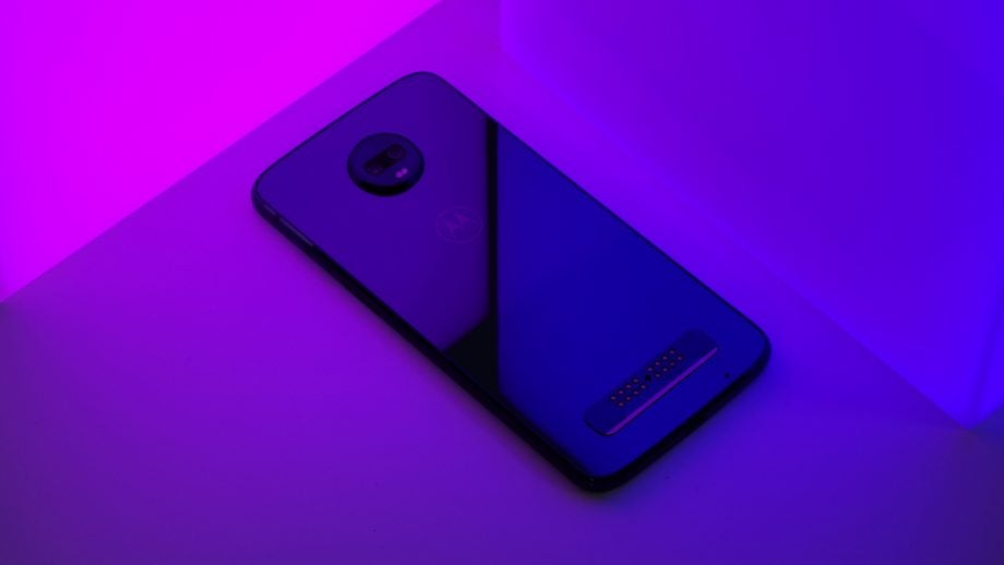 Moto Z3 Play with pink blue LED panels
