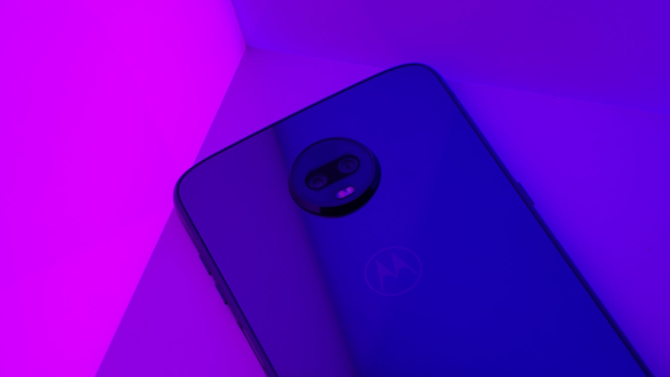 Moto Z3 Play with pink blue LED panels camera closeup angled