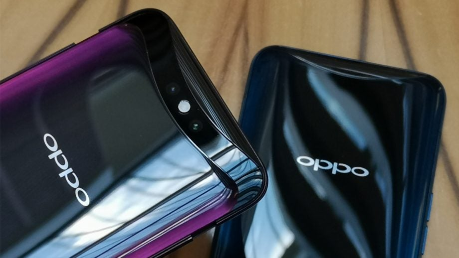 Oppo Find X red and blue camera open backs closeup