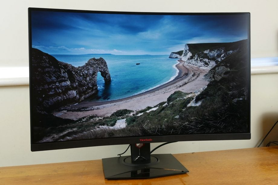 Front-on view of the Viewsonic XG3240C monitor, turned slightly to the left