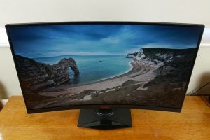 Front-on view of the Viewsonic XG3240C monitor, viewed slightly from above