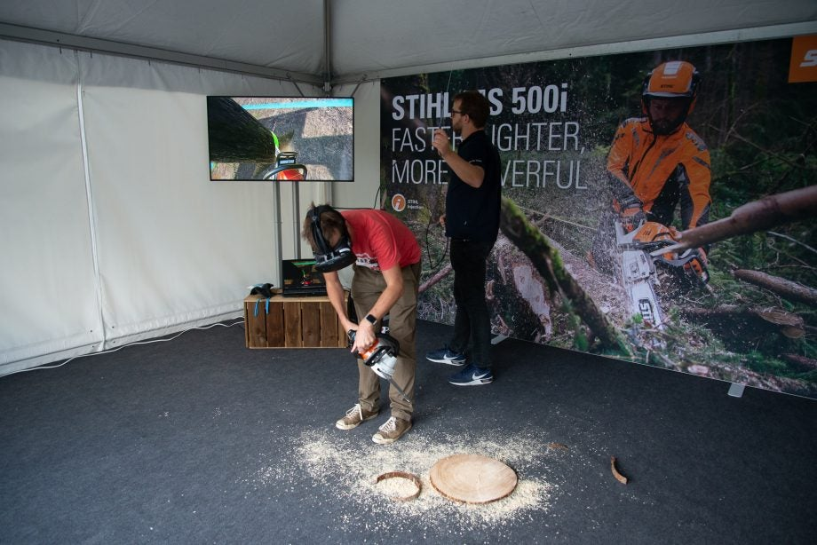 Stihl Chainsaw VR in use with saw