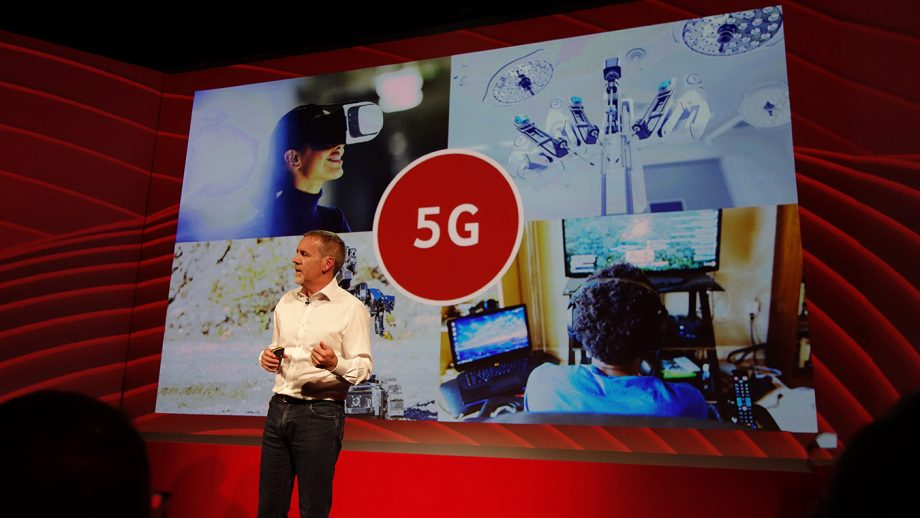 Vodafone UK's Scott Petty on stage talking 5G