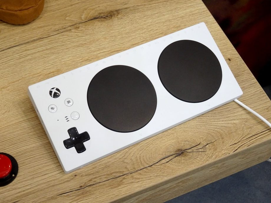 Top down view of the Xbox Adaptive Controller.