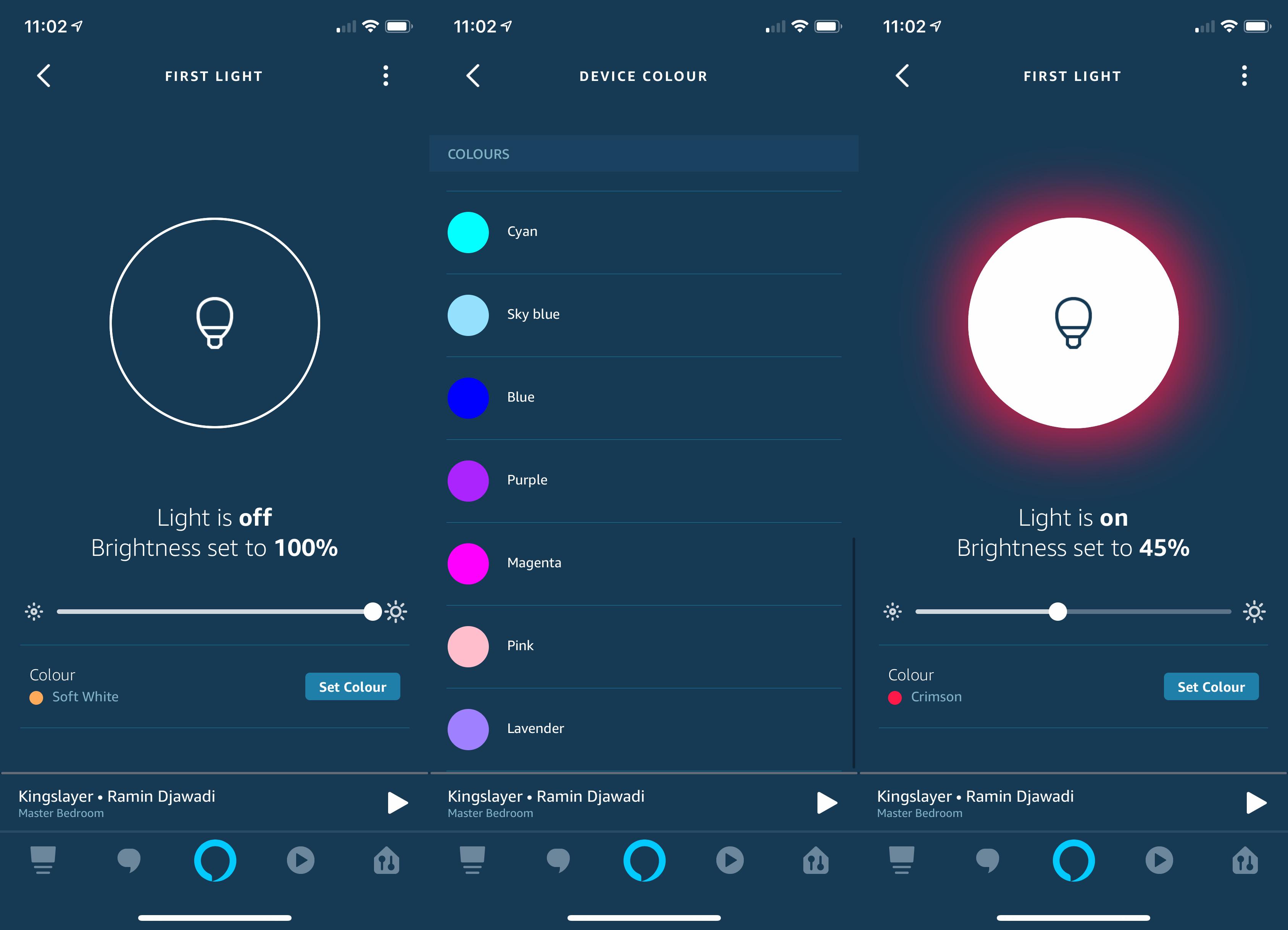 Amazon Alexa App - light bulb colour