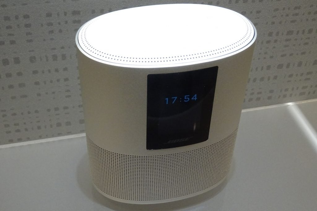 Front view of the white Bose Home Speaker 500.