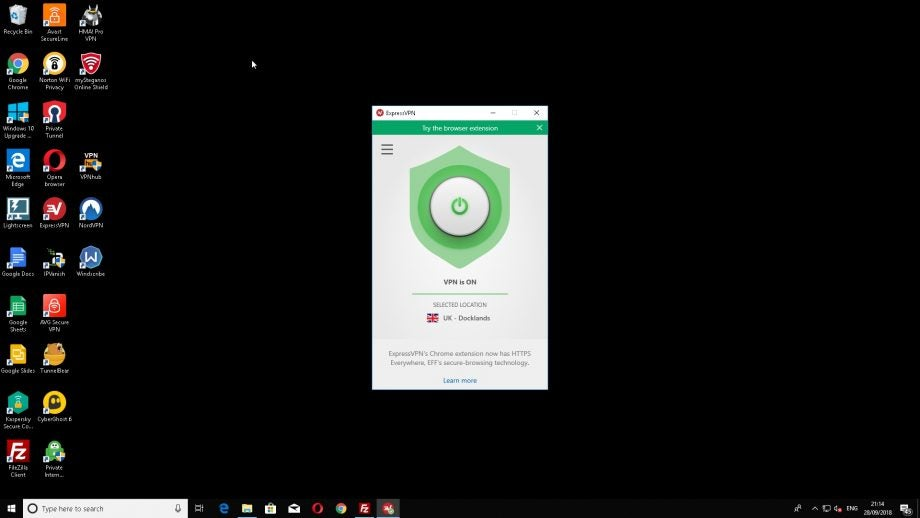 Screenshot of ExpressVPN running on Windows 10.