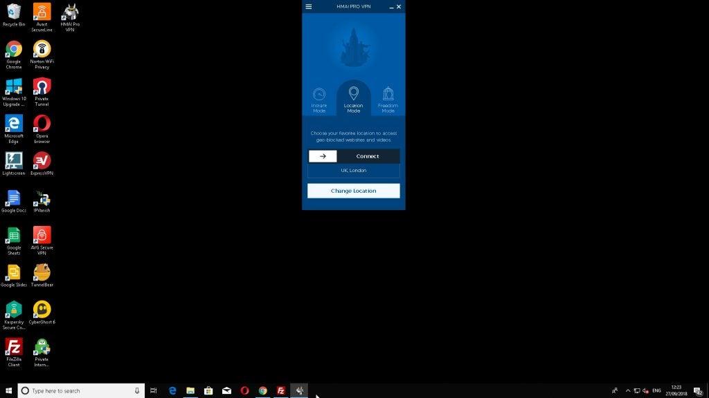 Screenshot of HideMyAss running on Windows 10.