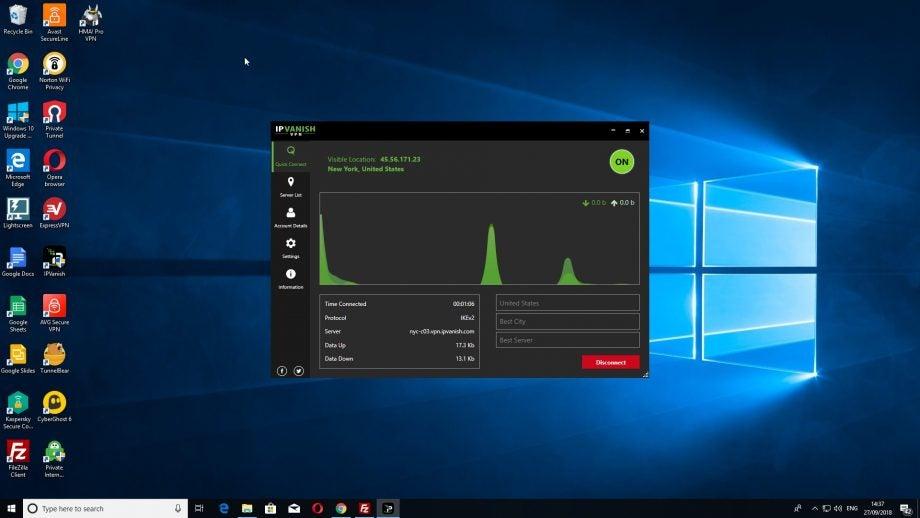 Screenshot of IPVanish sitting on the Windows 10 desktop screen.