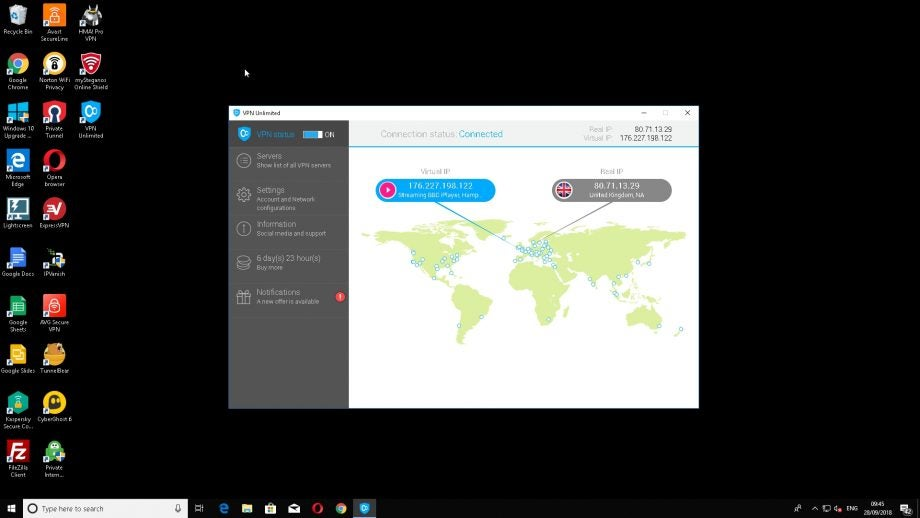 KeepSolid VPN Unlimited running on Windows 10.