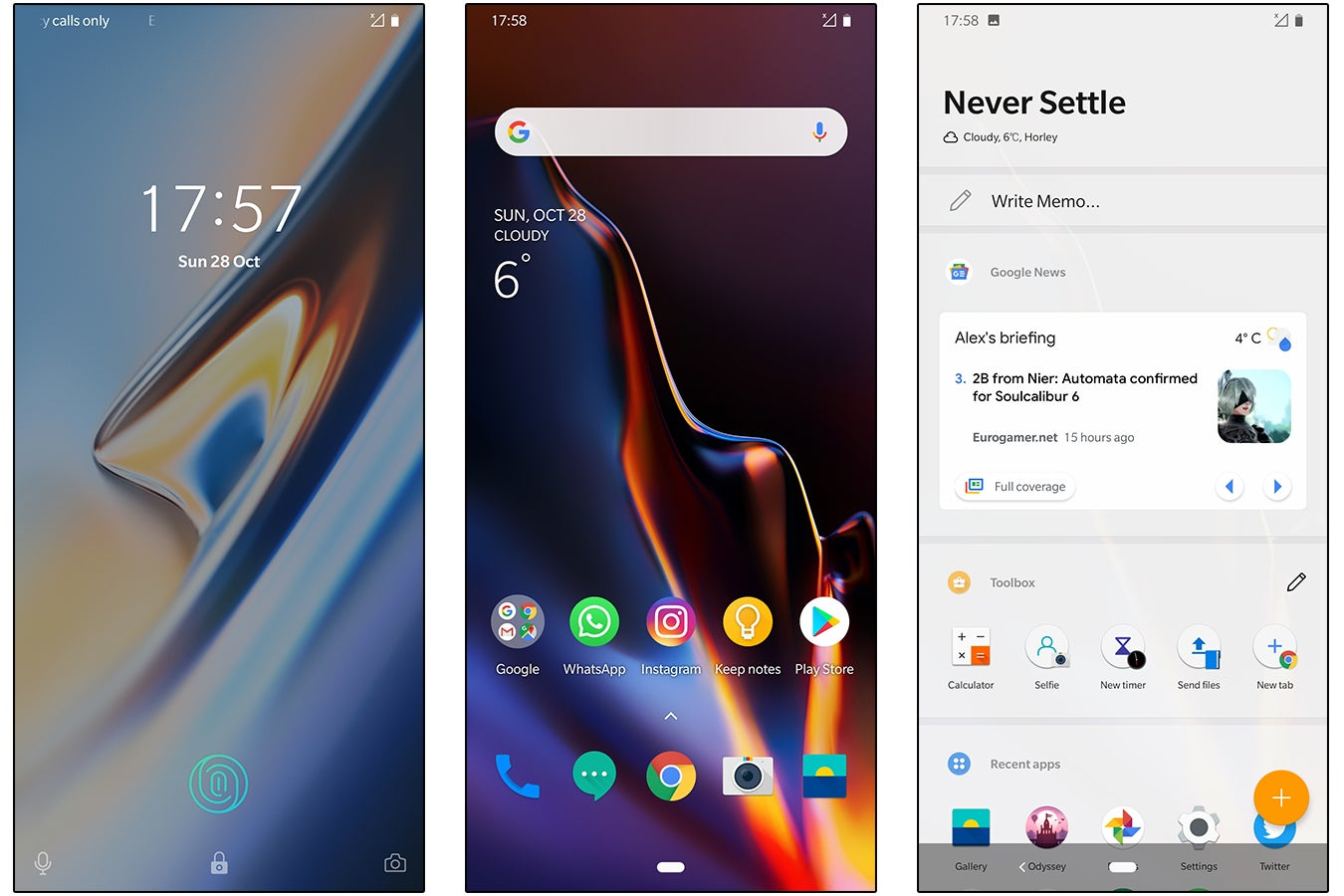 OnePlus 6T OxygenOS screenshots 1, 2, 3