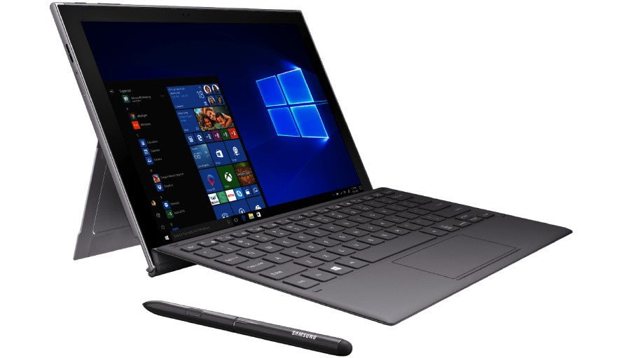 A press render of the Samsung Galaxy Book2 Windows 10 tablet connected to the keyboard dock, with the S Pen stylus sitting in the foreground.