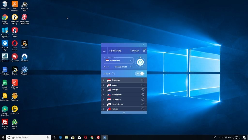 A screengrab of the Windscribe desktop client running on Windows 10.