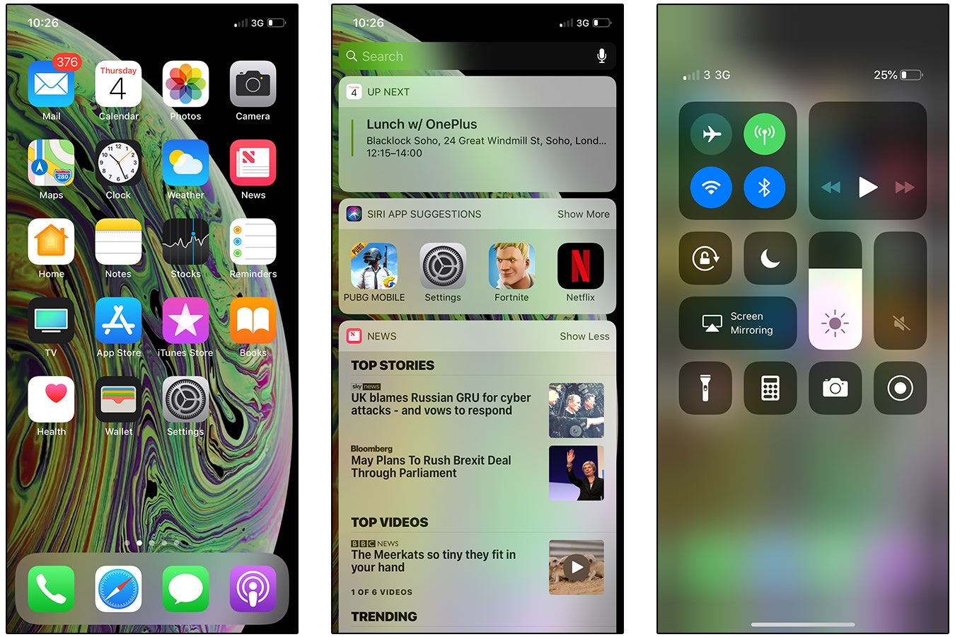 iPhone XS screenshots - Home screen, Today View, Control Centre