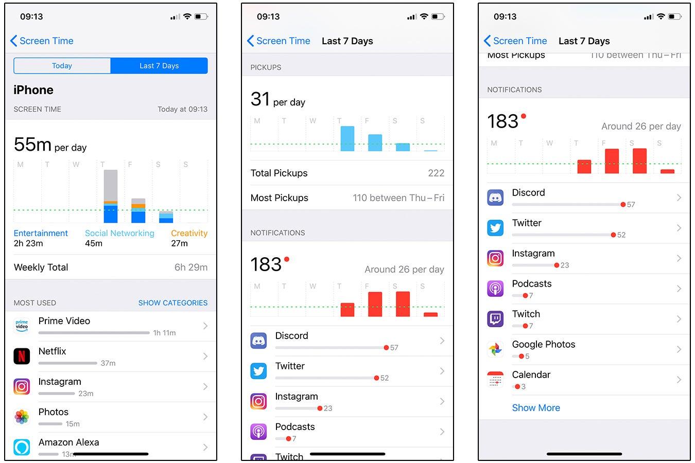 iPhone XS screenshots - Screen Time
