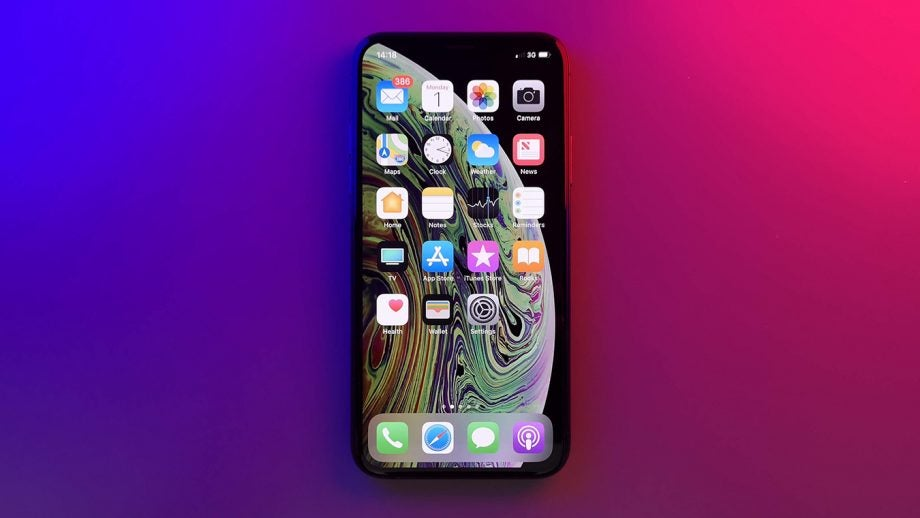 iPhone XS straight blue red LED panels