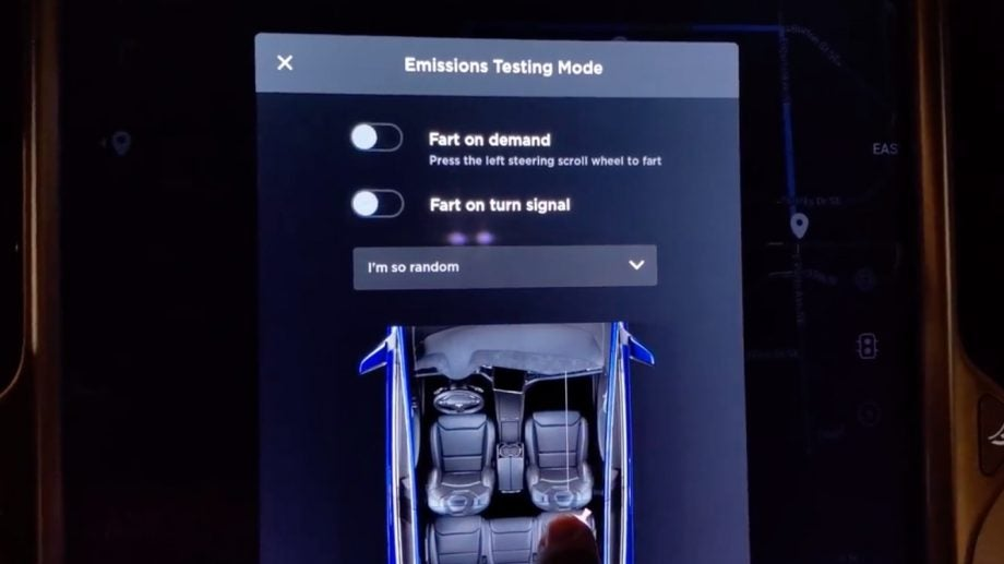 Yes, Tesla built a fart machine into its latest software
