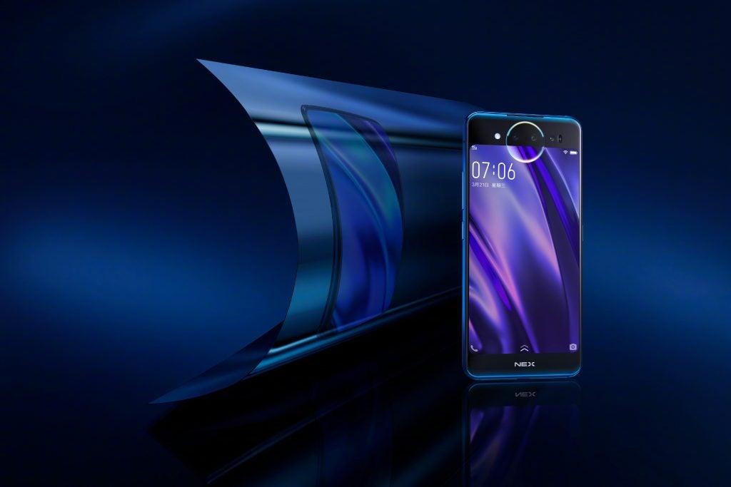 Vivo Nex Dual Display Edition curved reflection Ice Field Blue press image