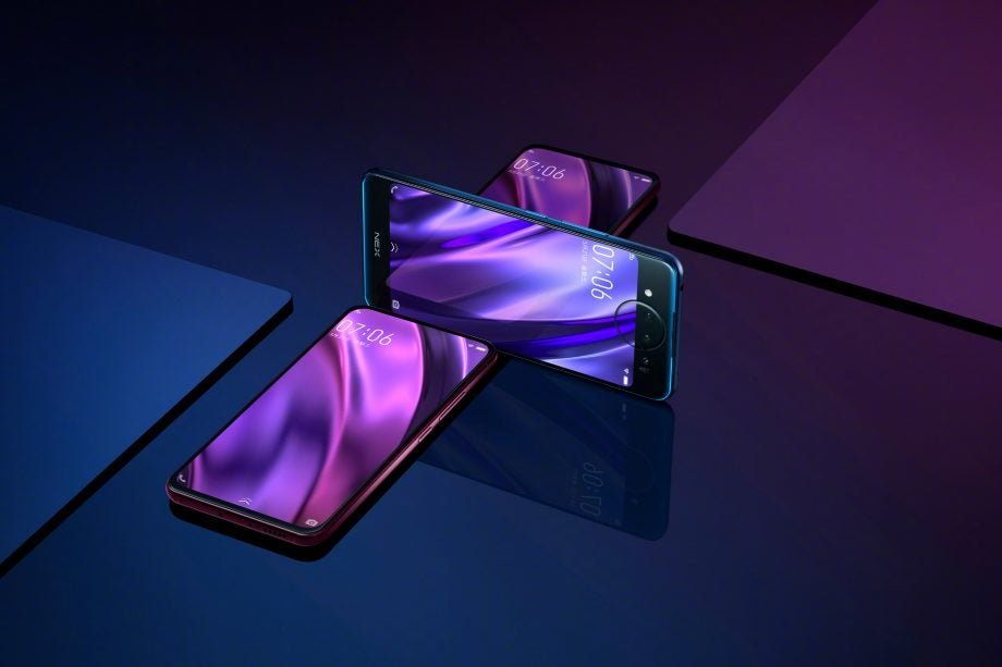 Vivo Nex Dual Display Edition rear crossover Polar Blue Nebula Purple press image
