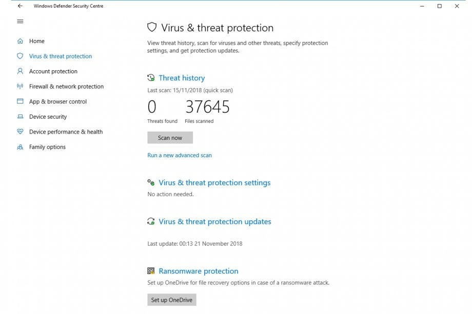 Windows Defender AntiVirus 2018