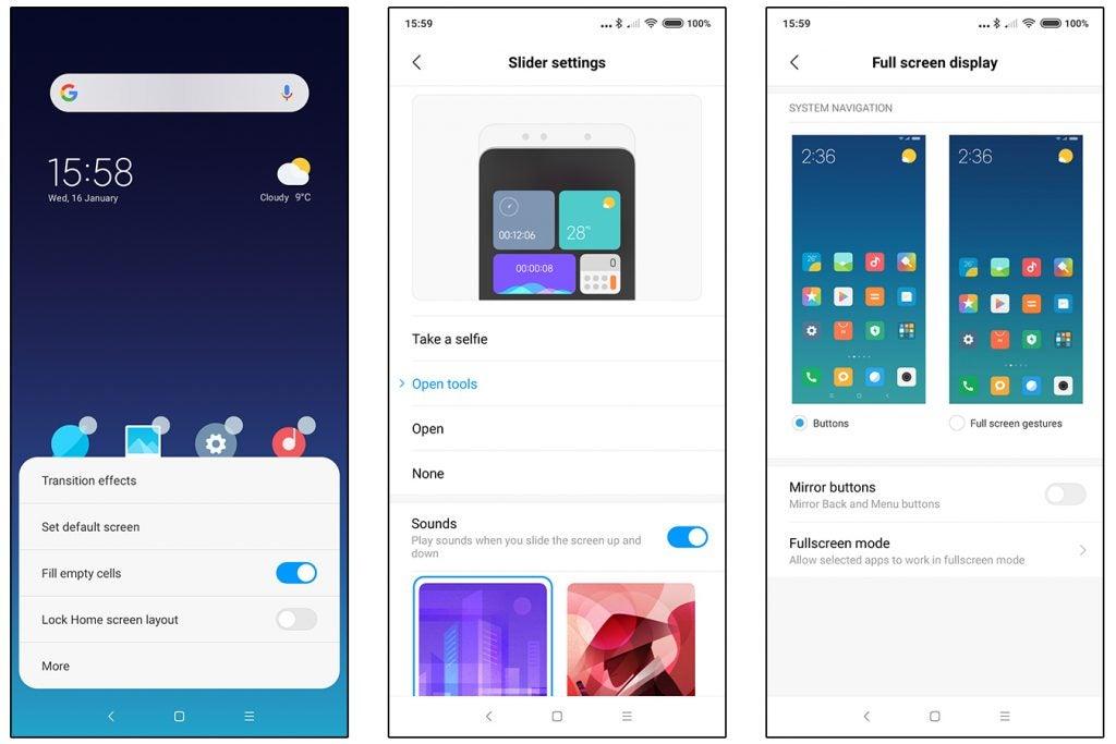 Xiaomi Mi Mix 3 MIUI 10 Global UI customisation screenshots