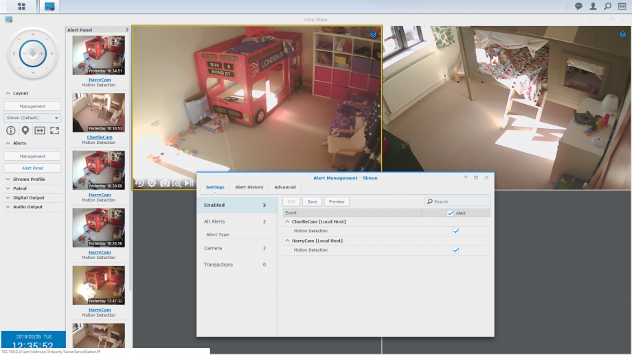 Live view with multiple motion detection alerts