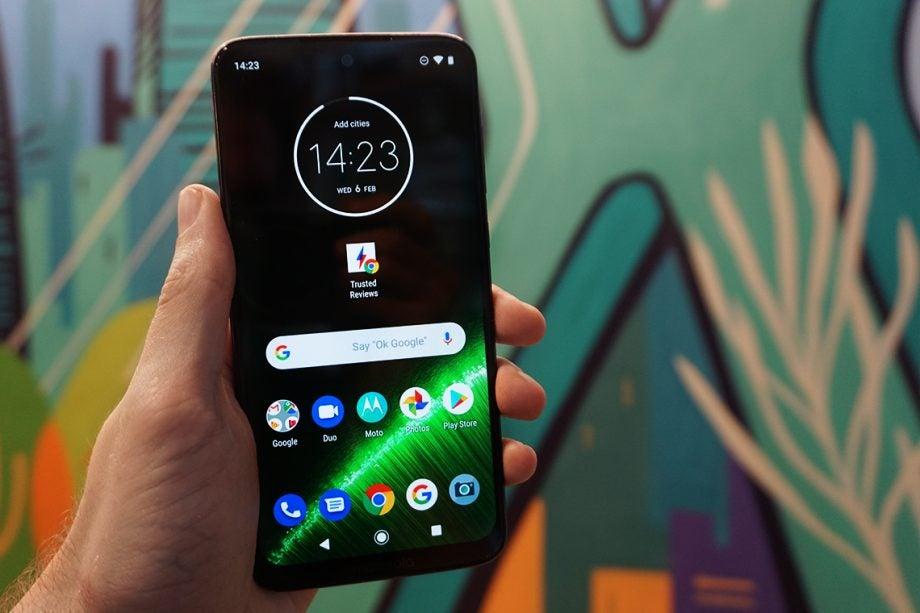 Moto G7 Plus hands on front handheld