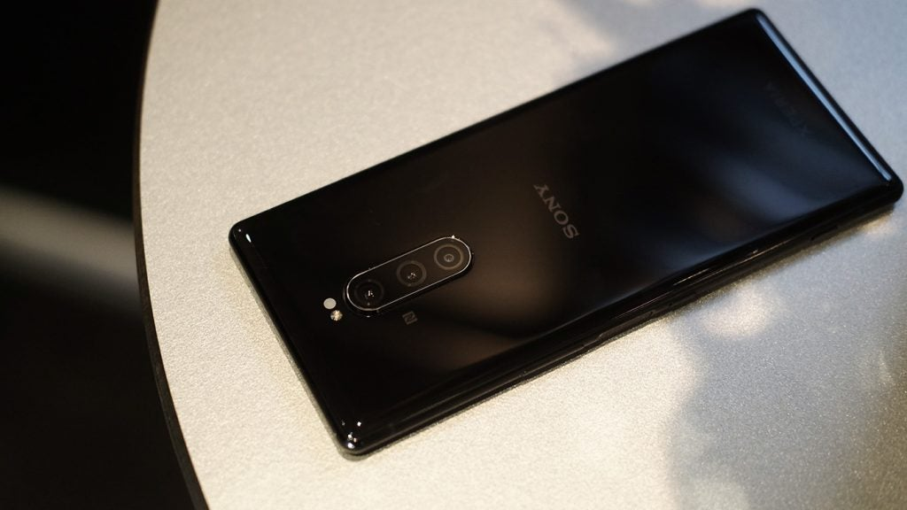 Sony Xperia 1 back on table upside down