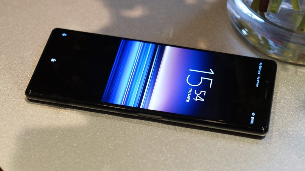 Sony Xperia 1 front on table upside down