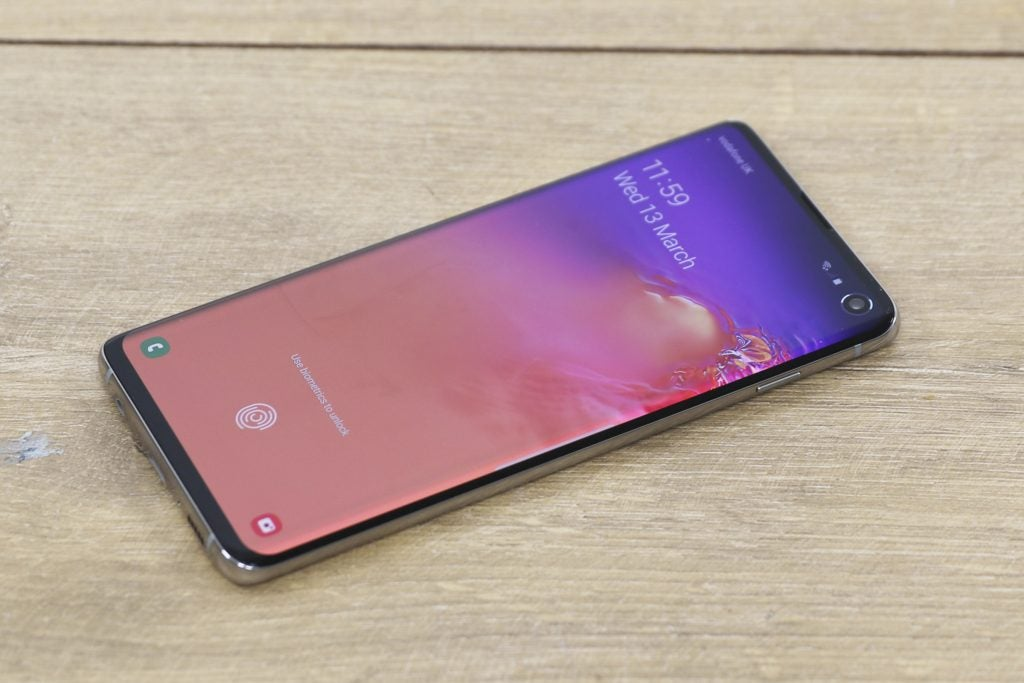 Best Android Phone: Galaxy S10 front angled on table