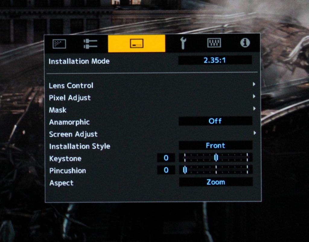 JVC DLA-N7 installation mode helps you set up the projector