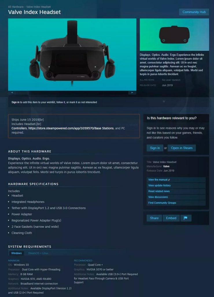 Valve Index Headset: Price, release date, specs for Valve's new VR