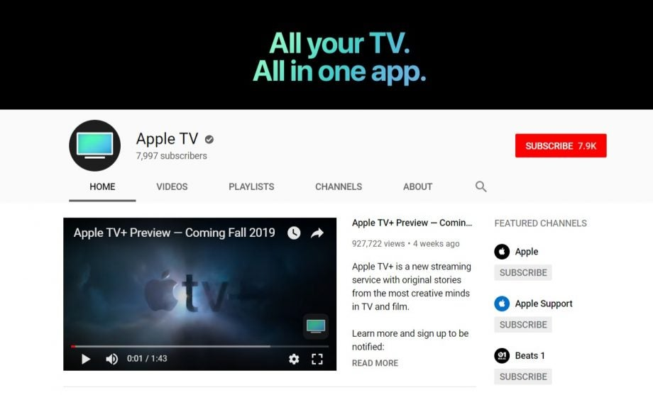 Apple TV now has an official YouTube presence