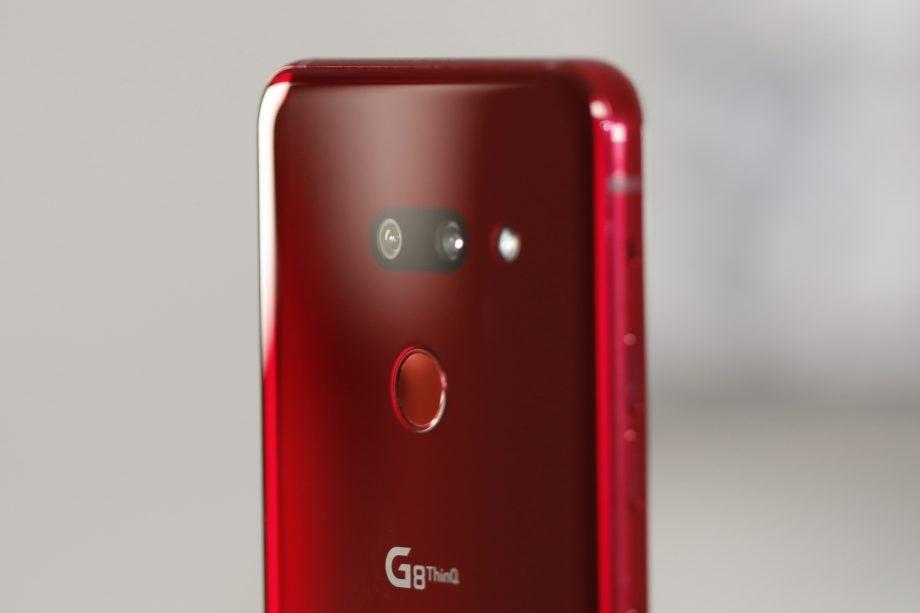 LG G8 ThinQ back camera angled 2