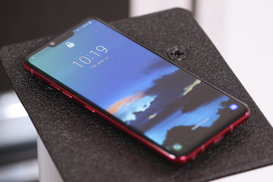 LG G8 ThinQ front angled on plinth