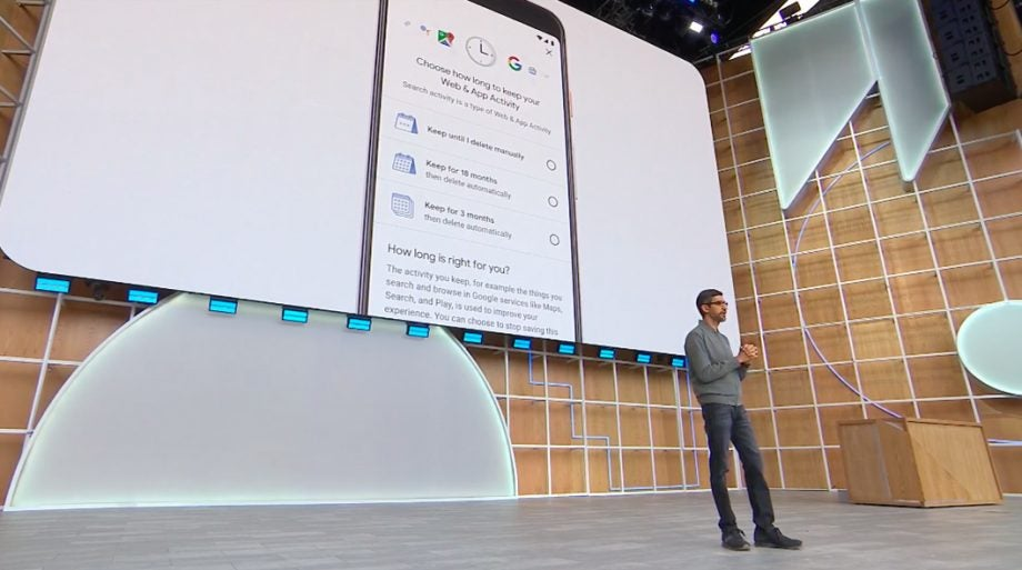 Google IO 19 Sundar Pichai on stage security