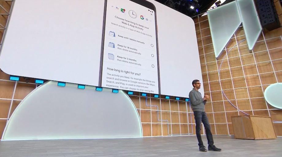 Google IO 19 Sundar Pichai on stage security