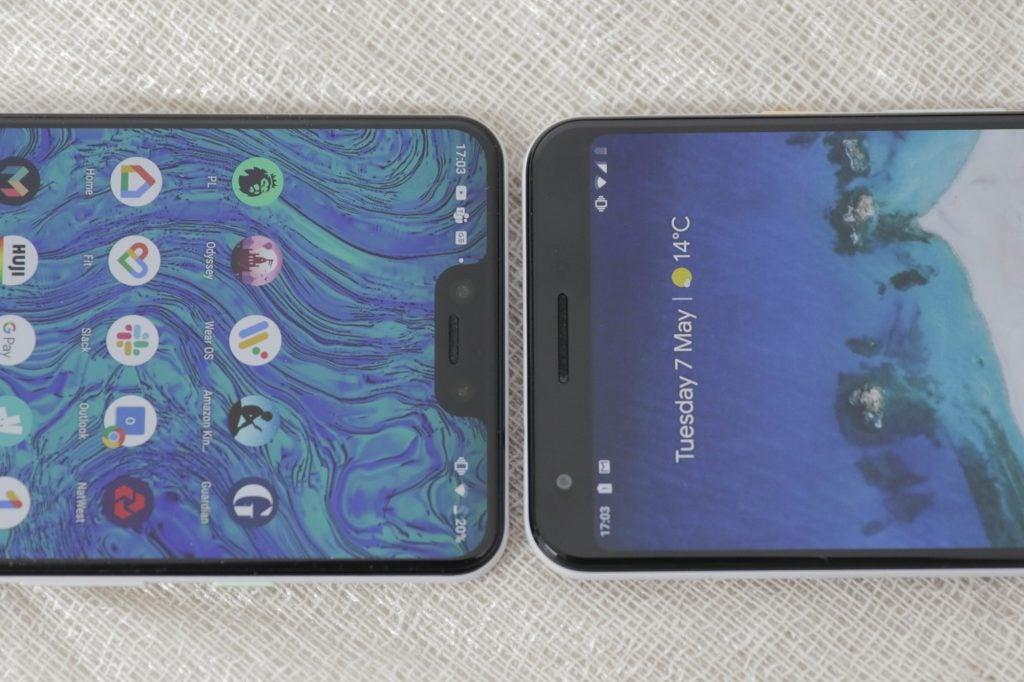 Google Pixel 3a XL and 3 XL bezels