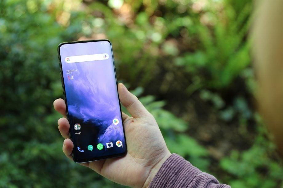 OnePlus 7 Pro handheld home screen wide