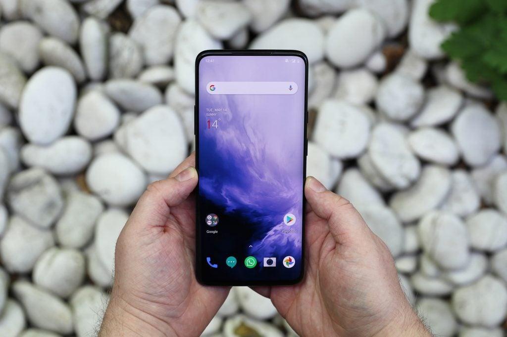 OnePlus 7 Pro handheld two hands wide