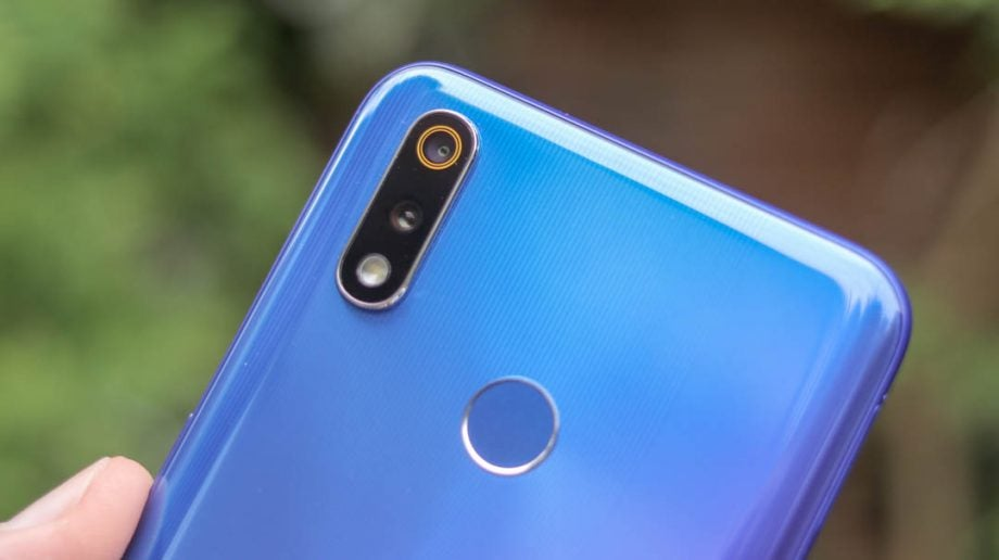 Realme 3 Pro back top closeup handheld