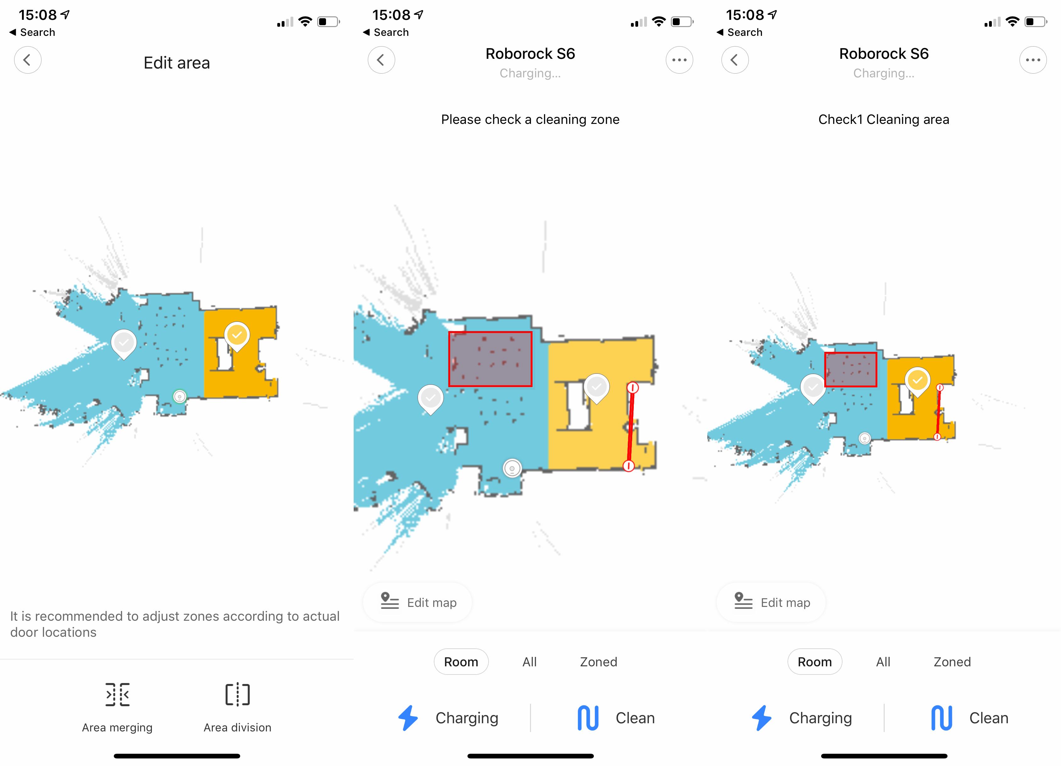 Roborock S6 map areas
