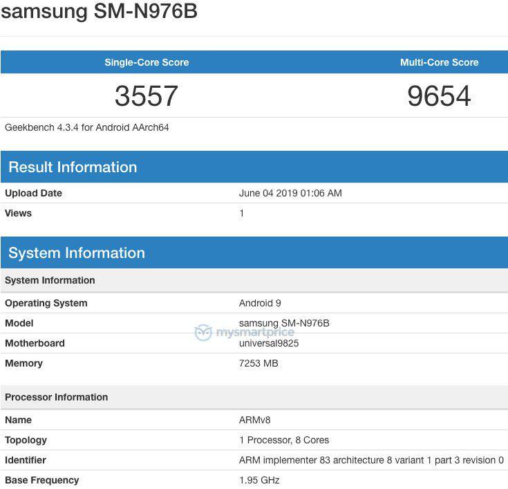 Galaxy Note 10 Exynos Geekbench MySmartPrice
