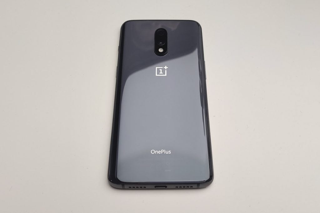 OnePlus 7 back straight perspective on table