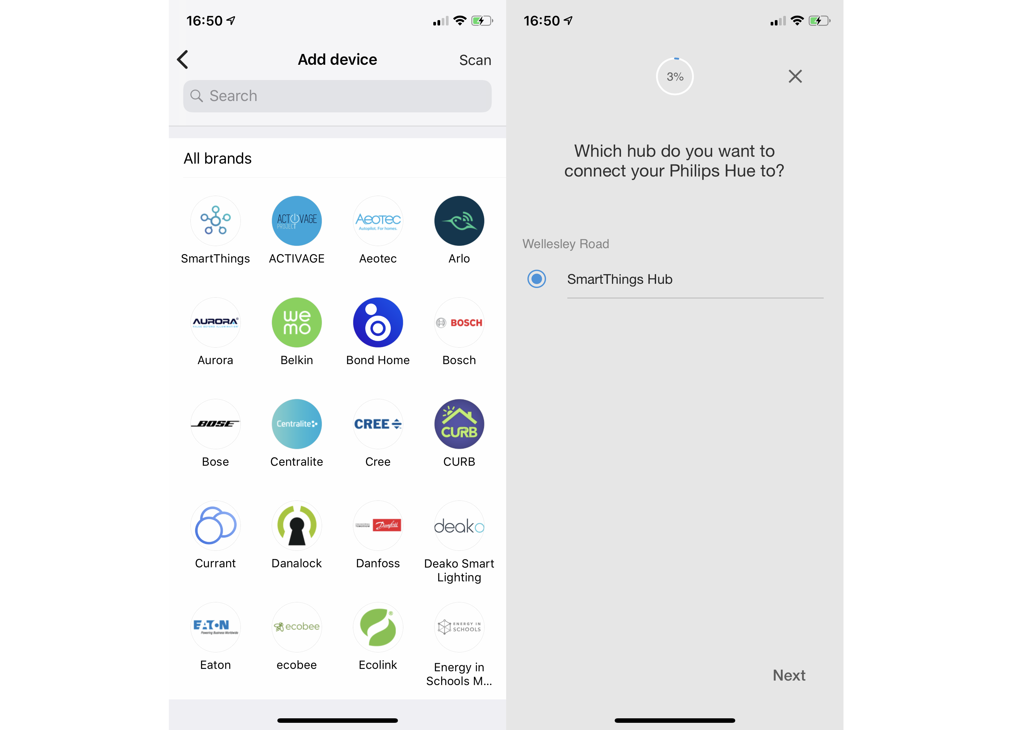 Samsung SmartThings add device