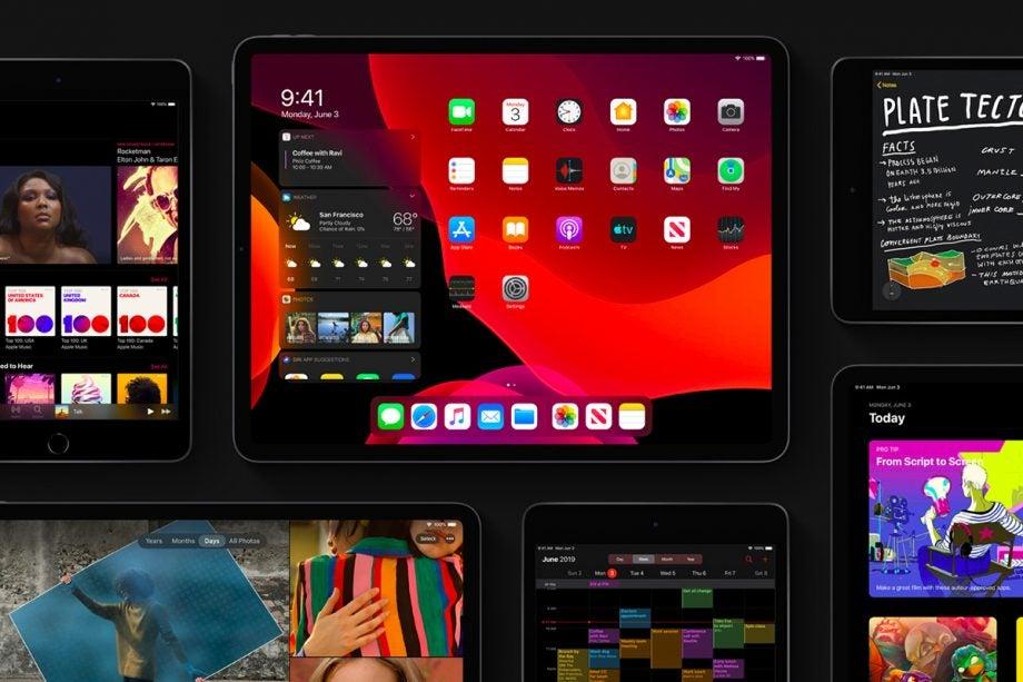 iPadOS dark mode collage