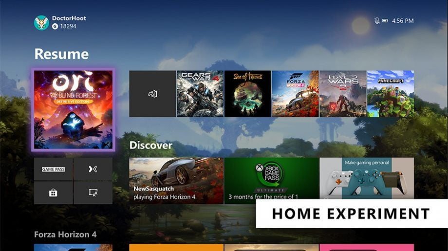 Xbox One home experiment
