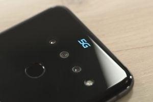 LG V50 5G logo closeup